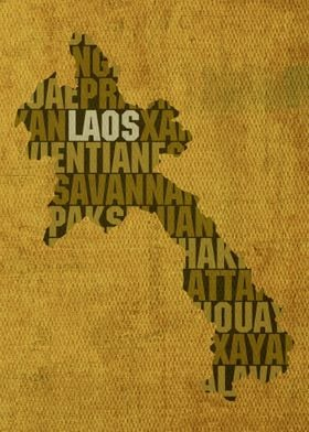 Laos Country Word Map Art