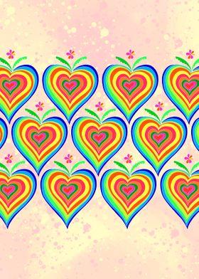 Pattern rainbow hearts