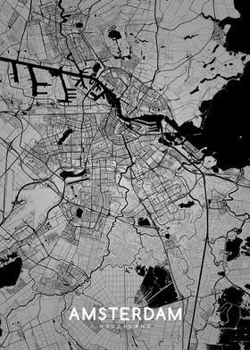 Amsterdam map BW