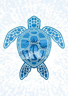 Tropical Island Sea Turtle
