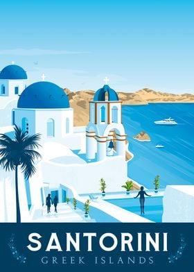 Santorini Travel Poster