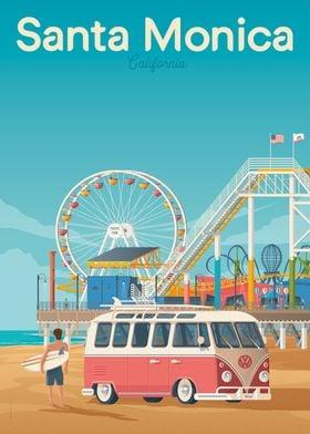 Santa Monica Travel Poster