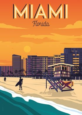 Miami Beach Travel Poster
