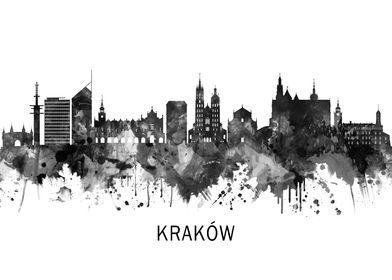 Krakow Poland Skyline BW