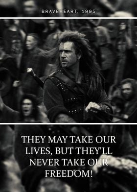 Braveheart Quote 1 Poster Print By Quoteey Displate