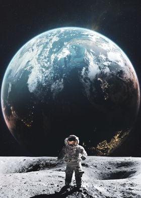 Astronaut Walking on Moon