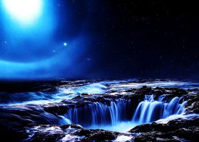 Waterfalls on alien planet