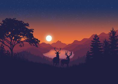 Flat Landscape Deer