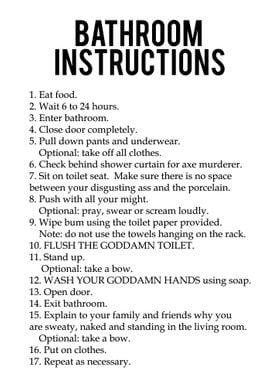 Funny Bathroom Instruction