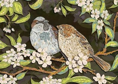 Sparrows in the Plum Tree