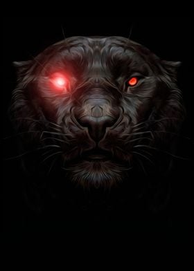 black panther with red eye