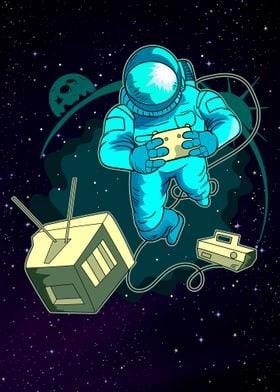 Astronaut Video Gamer