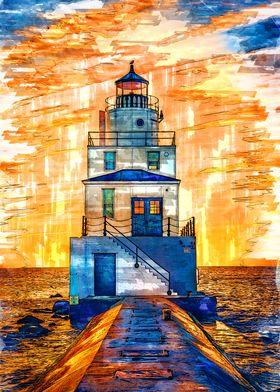 Lighthouse Sunset USA