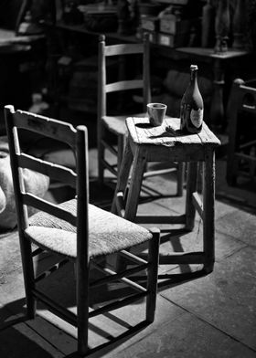 Medieval chair and wine