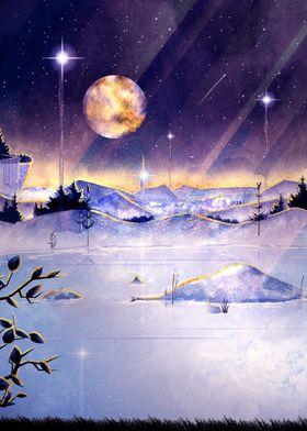 Moon Lake Watercolor