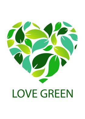 Love green leaf heart