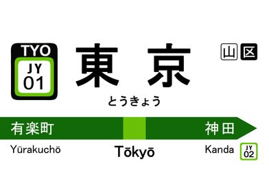 tokyo japan train sign