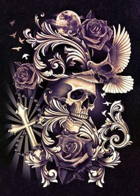 Skull with Dove Filigree