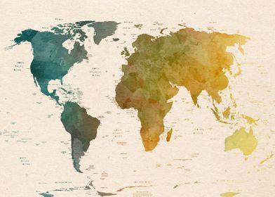 world map political retro