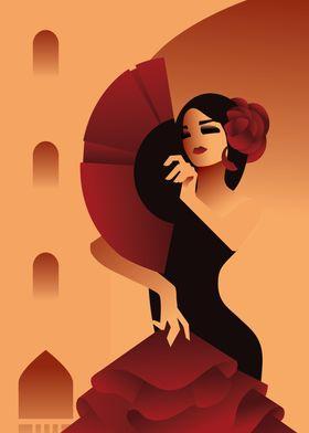 Spanish Lady in black dres