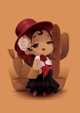 Chibi flamenco in spanish