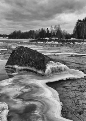Frozen Rock In The River