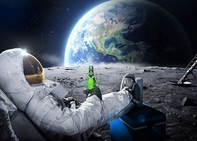 Funny astronaut with beer