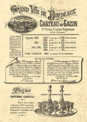 VIN de BORDEAUX 1888