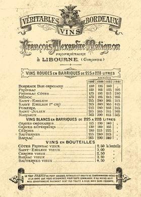 VIN de BORDEAUX PRIX 1888