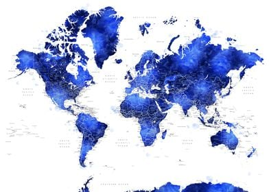 Cobalt blue world map