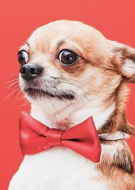 Chihuahua With Bowtie Poster By Releesy Wall Art Displate