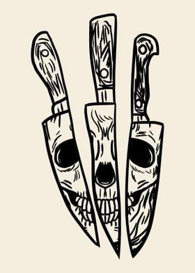 Skull Reflected on Knives