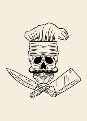 Skull Chef with Mustache