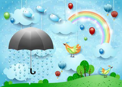Umbrella and spring rain