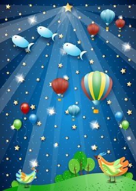 Big star in starry sky