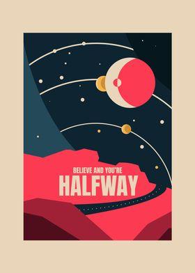 Halfway in space