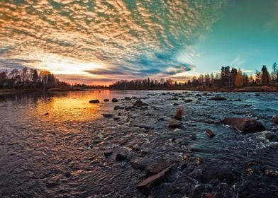Dramatic Sunset By a River