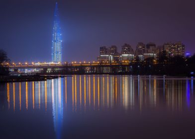 The Tower In The Night Fog