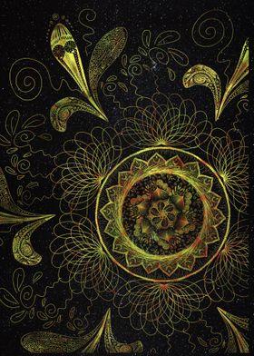 Sun mandala watercolor