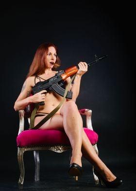 Sexy Girls and Guns AK47
