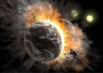 Rocky exoplanets collision