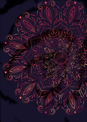 Watercolor mandala Love