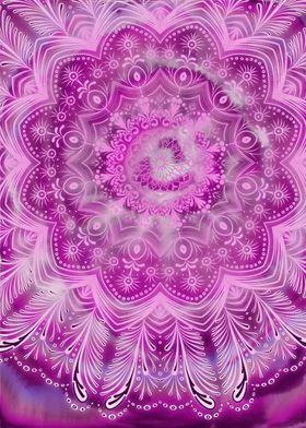 Pink watercolor mandala