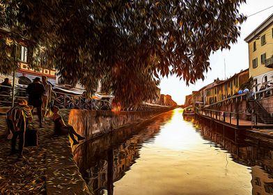 Sunset on Navigli