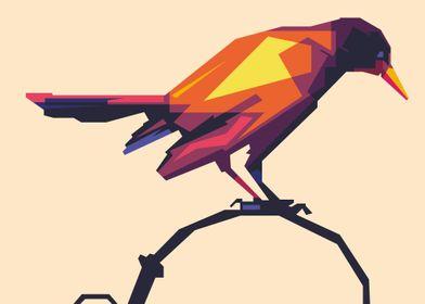 colorful crow WPAP POP ART