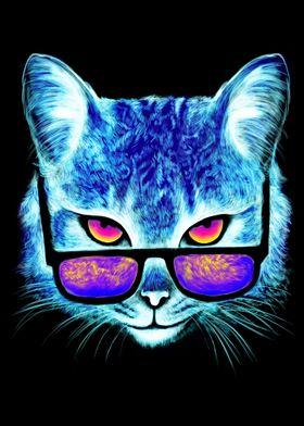 Neon Cat with Sunglasses