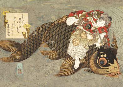 Shiei on His Carp