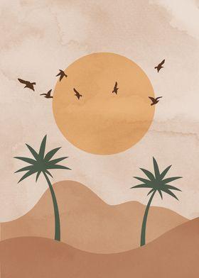 Desert Palm Sun Print