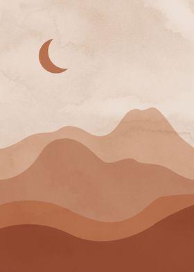 Landscape Desert Moon Art