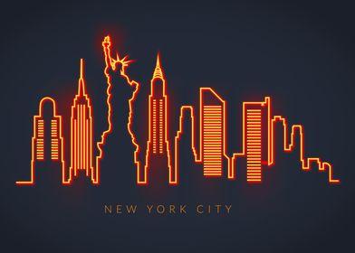 Neon Skyline New York City
